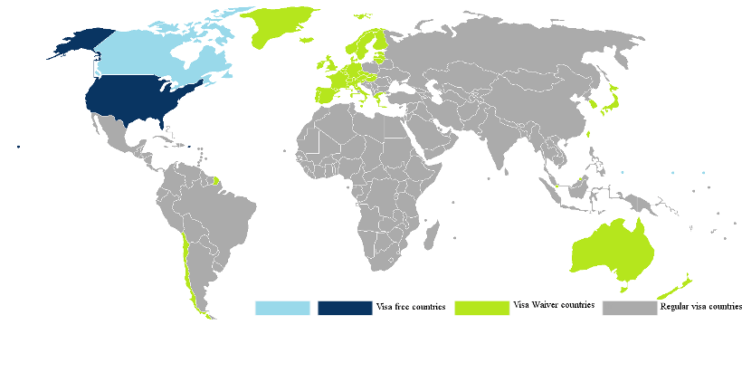 Visa Waiver Program world map