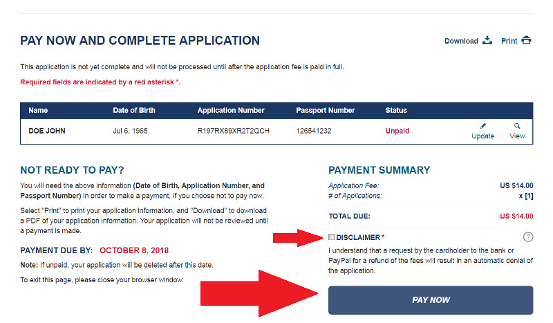 ESTA USA payment