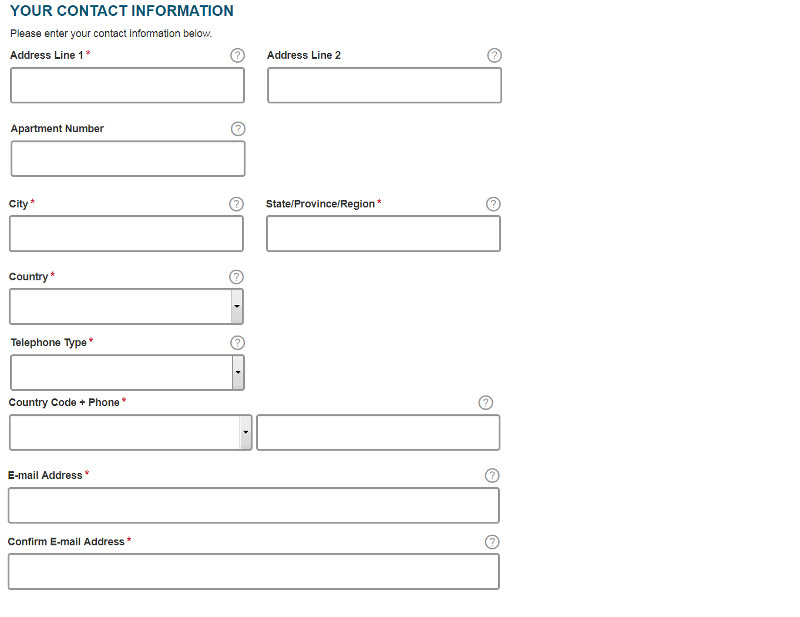 ESTA USA application form section 6: Your contact information