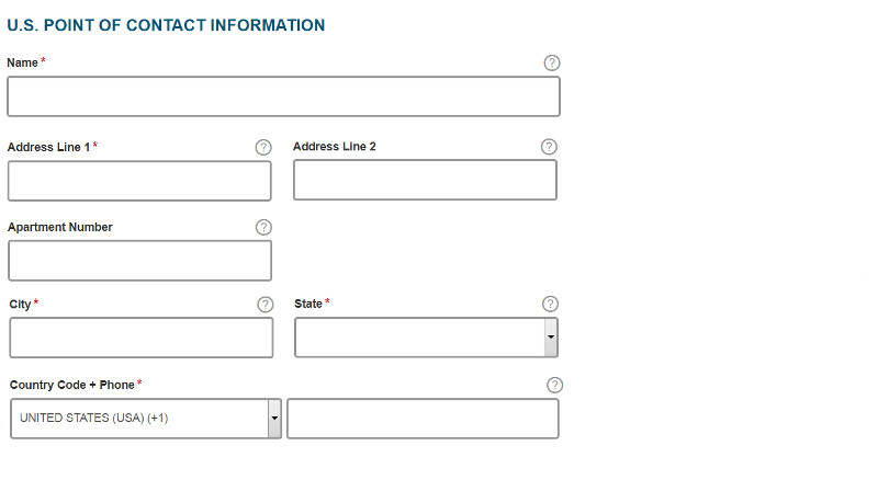 ESTA USA application form section 10: U.S. point of contact information