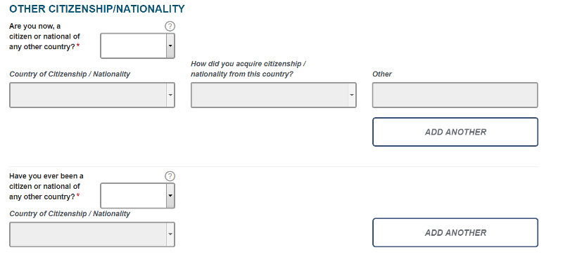 ESTA USA application form section 3: Other citizenship / Nationality