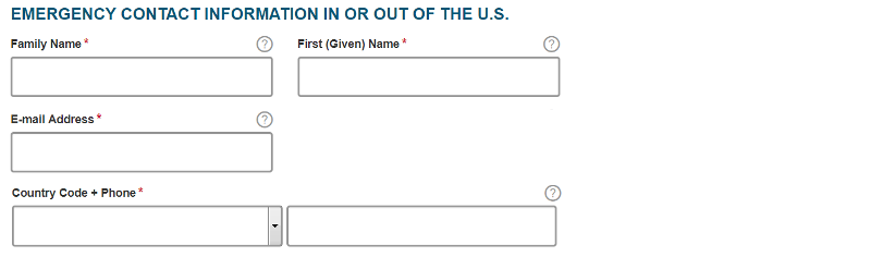 ESTA USA application form section 12: Emergency contact information in or out of the U.S.